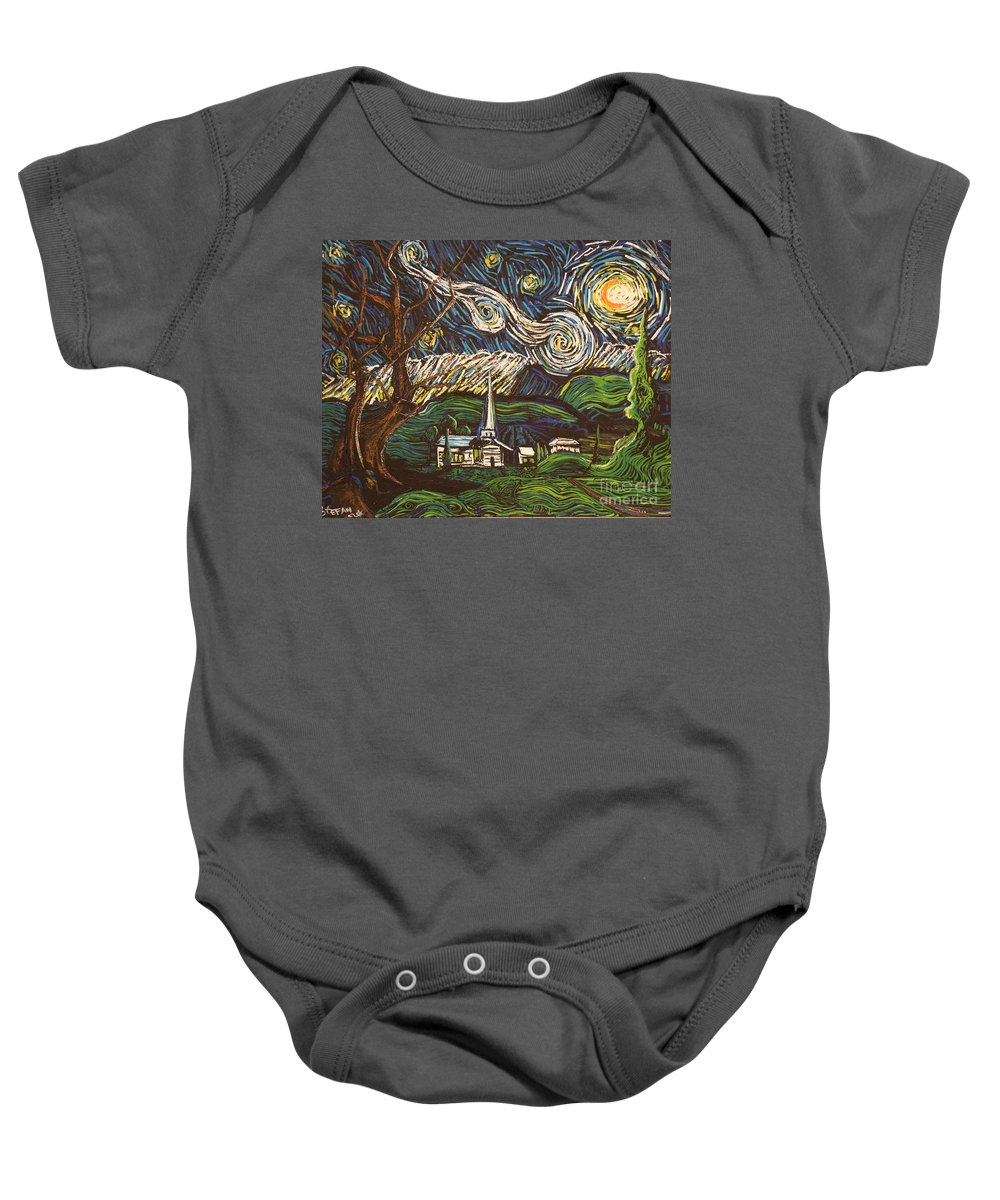 Landscape Baby Onesie featuring the painting Praise To The Light by Stefan Duncan