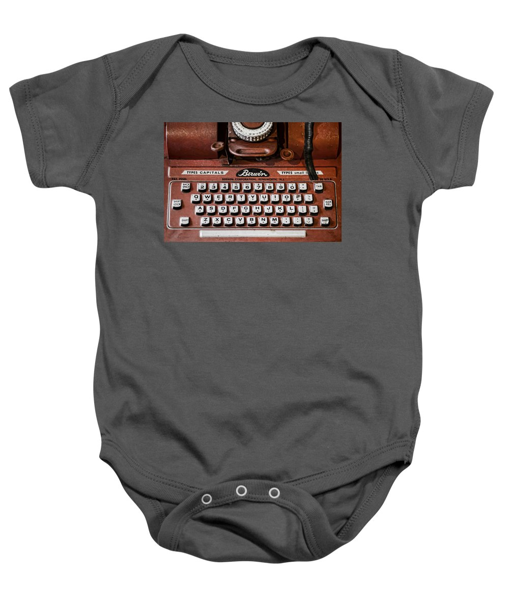 Typewriter Baby Onesie featuring the photograph Pre Computer by Heather Applegate