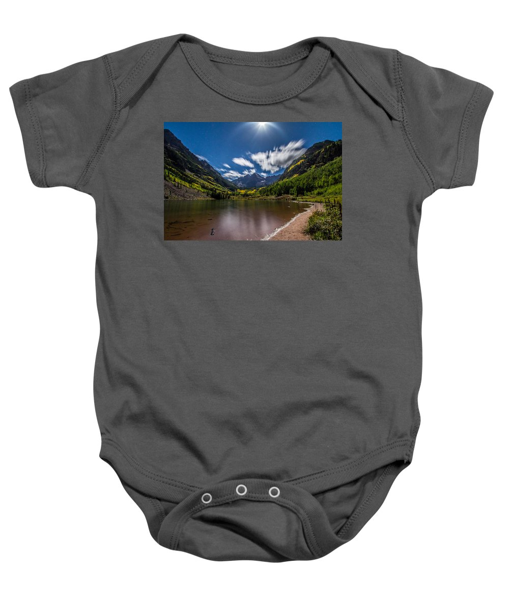 Maroon Bells Baby Onesie featuring the photograph Pre Dawn At Maroon Bells by Jeff Stoddart