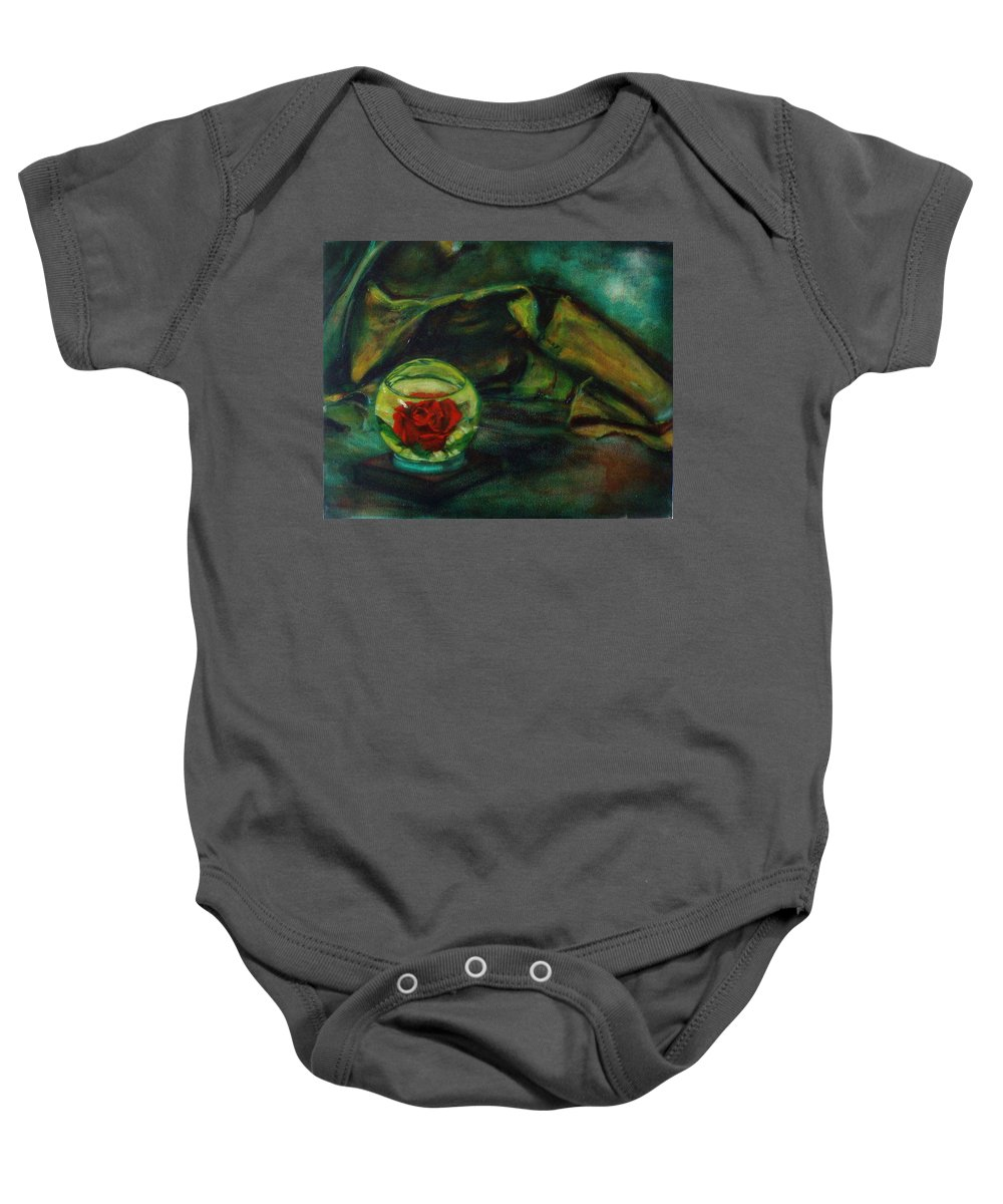 Still Life Baby Onesie featuring the painting Preserved Rose . . Draped Canvas by Sean Connolly