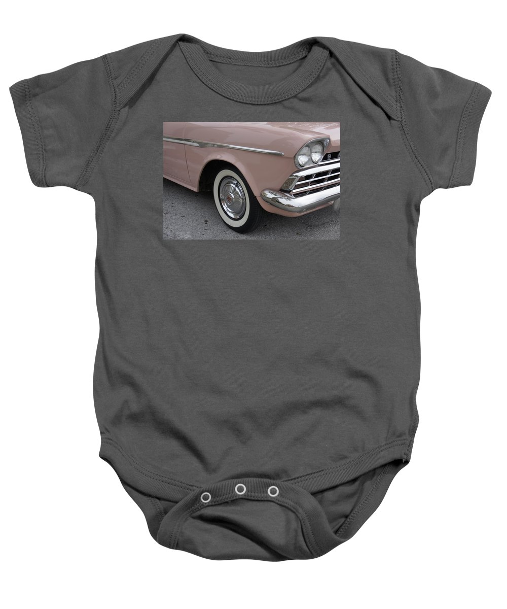 Pink Car Baby Onesie featuring the photograph Pretty In Pink by Laurie Perry