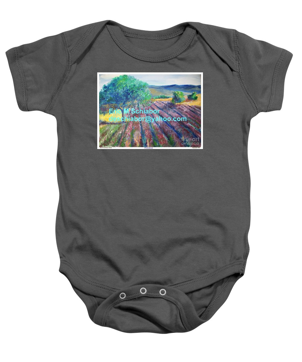 The Actor Baby Onesie featuring the painting Provence Lavender Field by Eric Schiabor