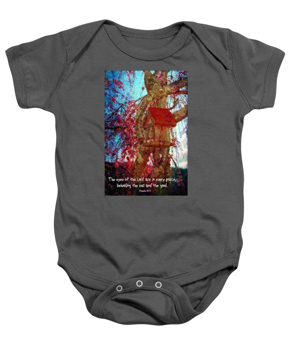 Jesus Baby Onesie featuring the digital art Proverbs 15 3 by Michelle Greene Wheeler