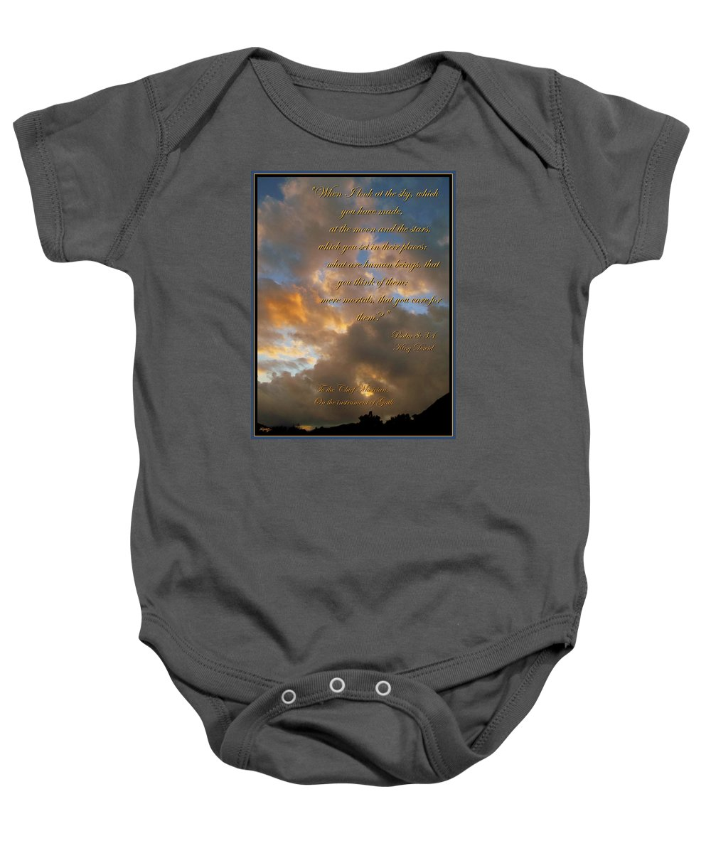 King David Baby Onesie featuring the photograph Psalm Eight by Glenn McCarthy Art and Photography