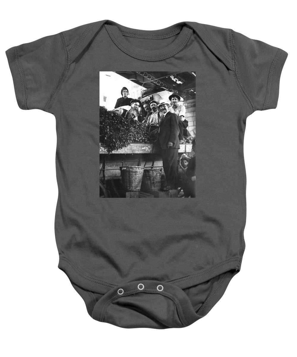 1910 Baby Onesie featuring the photograph Public Market Vegetable Stand by Underwood Archives