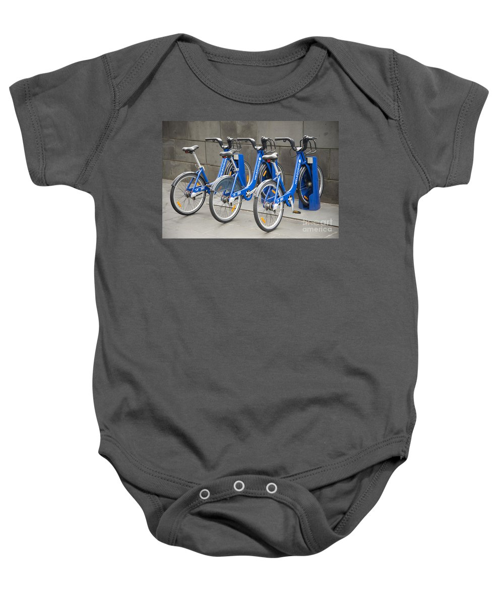 Australia Baby Onesie featuring the photograph Public Shared Bicycles In Melbourne Australia by Jacek Malipan