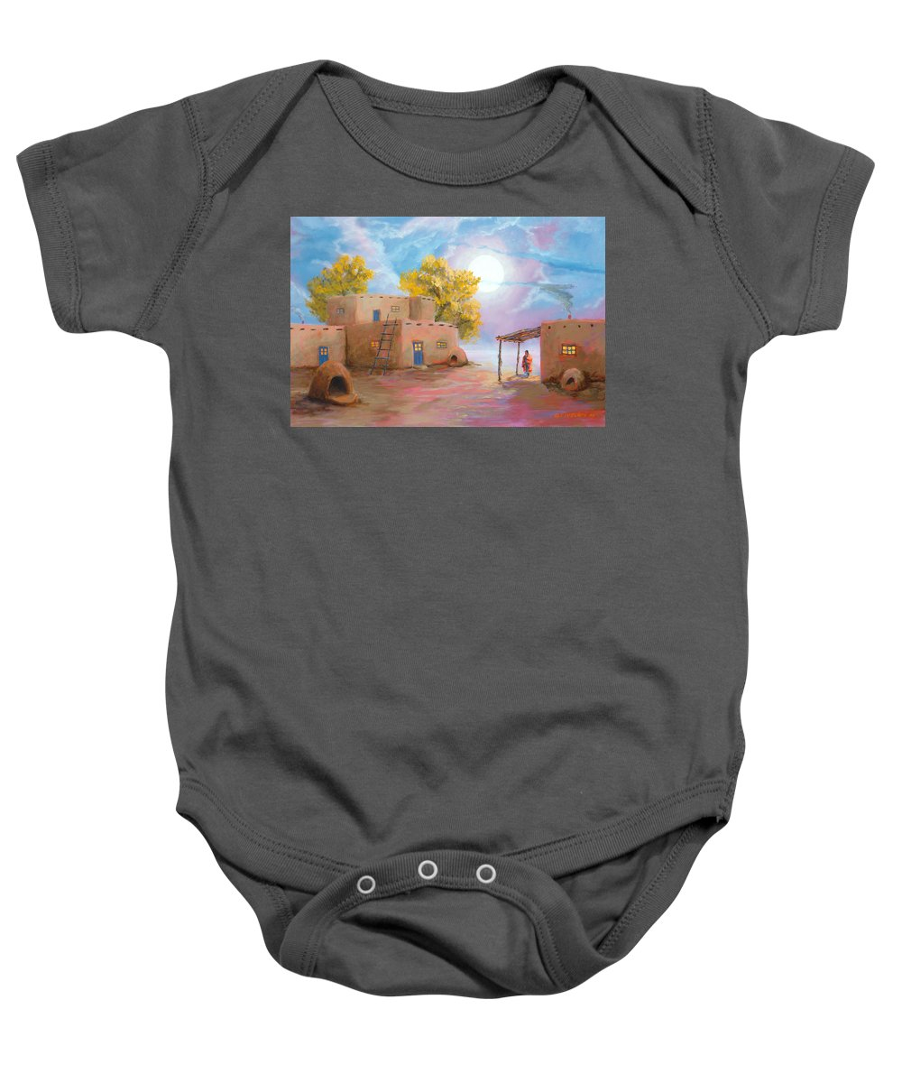 Pueblo Baby Onesie featuring the painting Pueblo De Las Lunas by Jerry McElroy