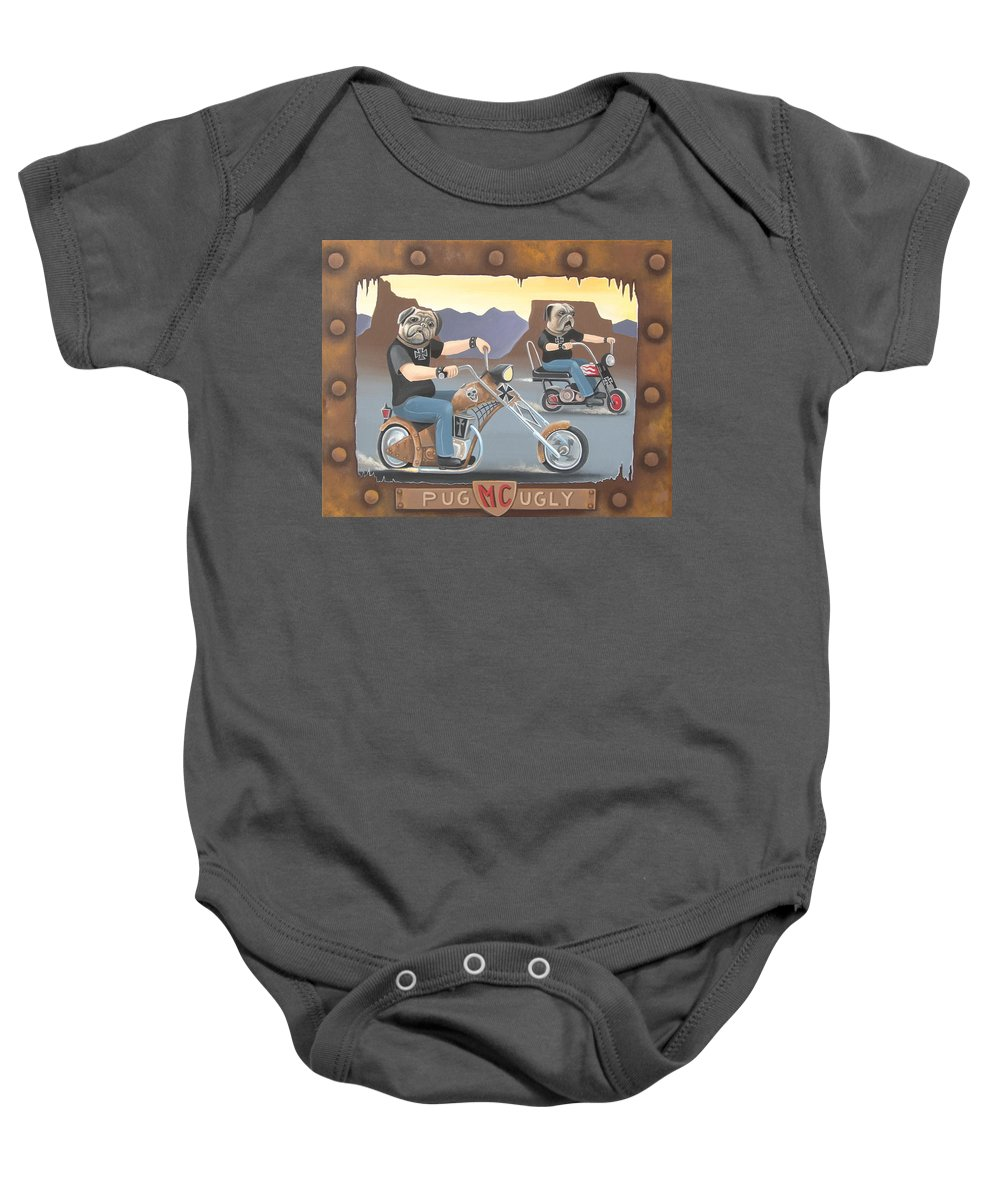Pug Baby Onesie featuring the painting Pug Ugly M.c. by Stuart Swartz