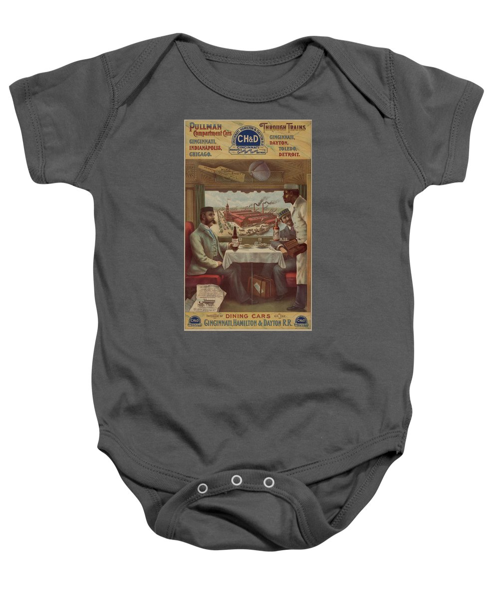 Pullman Car Baby Onesie featuring the painting Pullman Compartment Cars Ad Circa 1894 by George Pedro