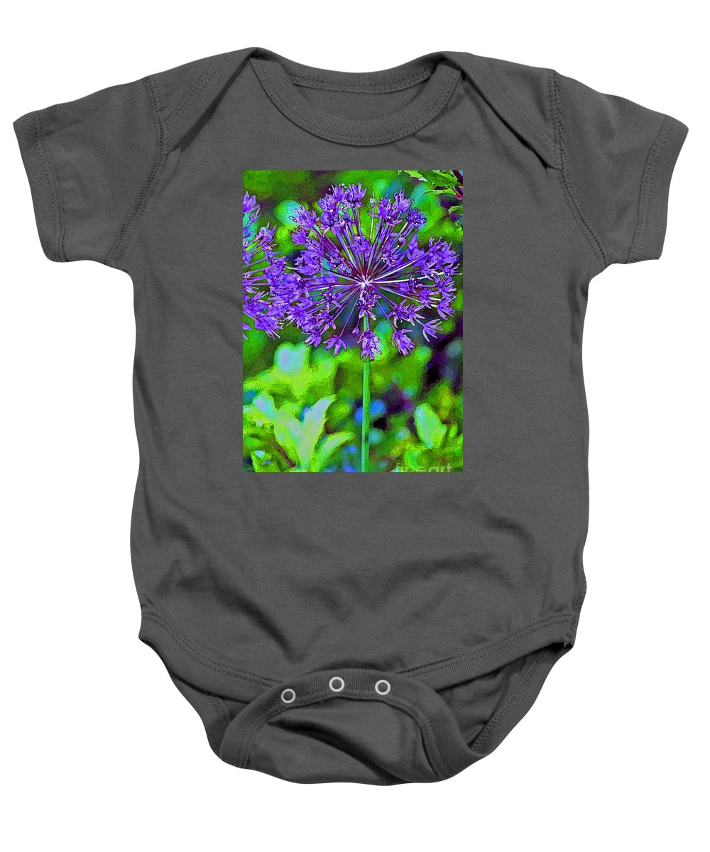 Garden Baby Onesie featuring the photograph Purple Allium Flower by Karen Adams