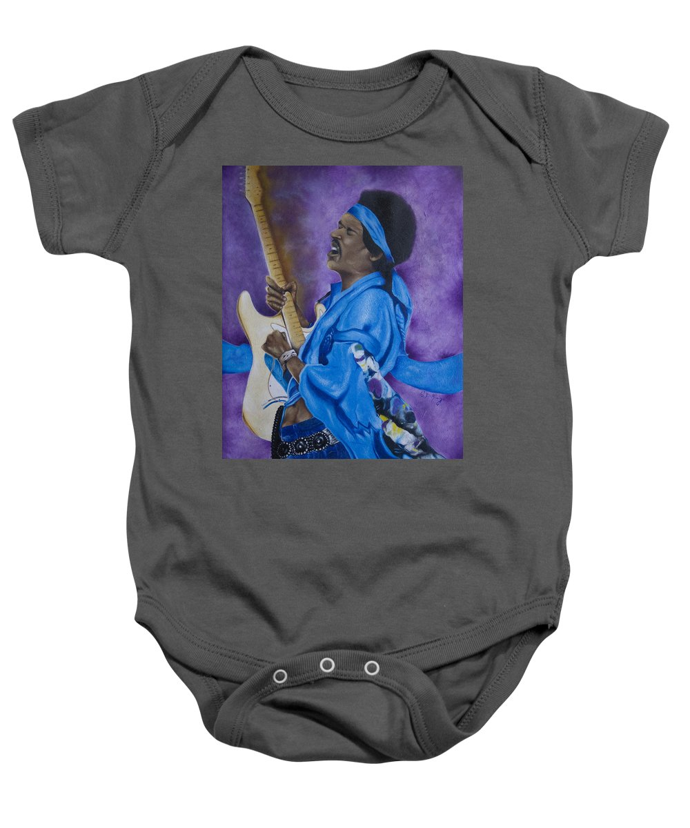 Portraiture Baby Onesie featuring the painting Purple Haze by Stephen J DiRienzo