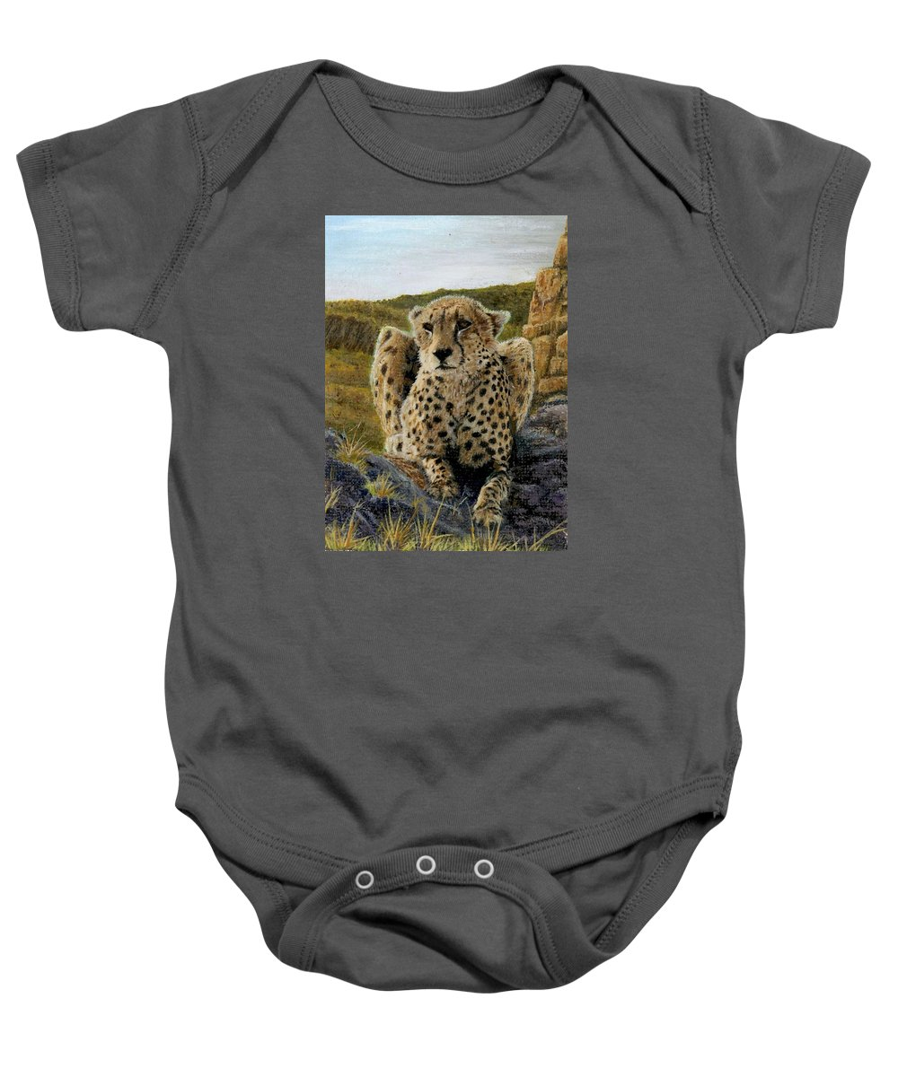 Jaguar Baby Onesie featuring the painting Purrfect View by Sherryl Lapping