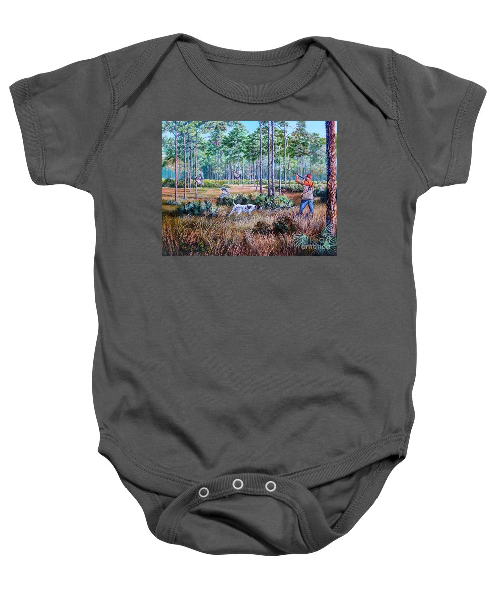 Bob White Quail Baby Onesie featuring the painting Quail Hunting...a Southern Tradition. by Daniel Butler