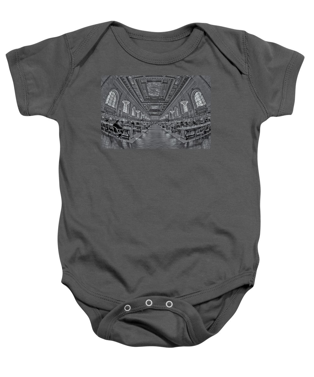 5th Avenue Baby Onesie featuring the photograph Quiet Room Bw by Susan Candelario