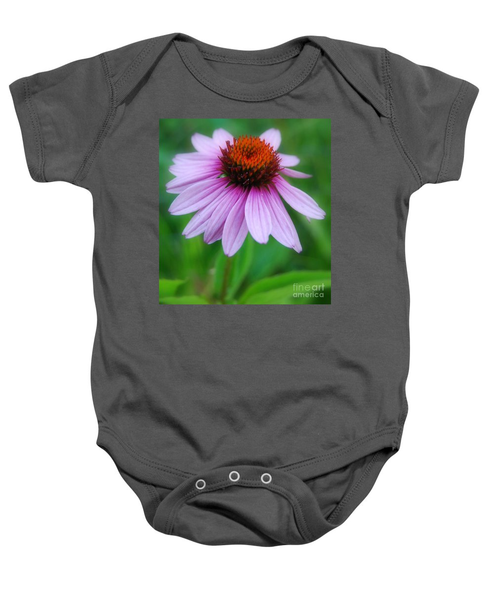 Cone Flower Baby Onesie featuring the photograph Quietly Sitting All Alone by Eunice Miller