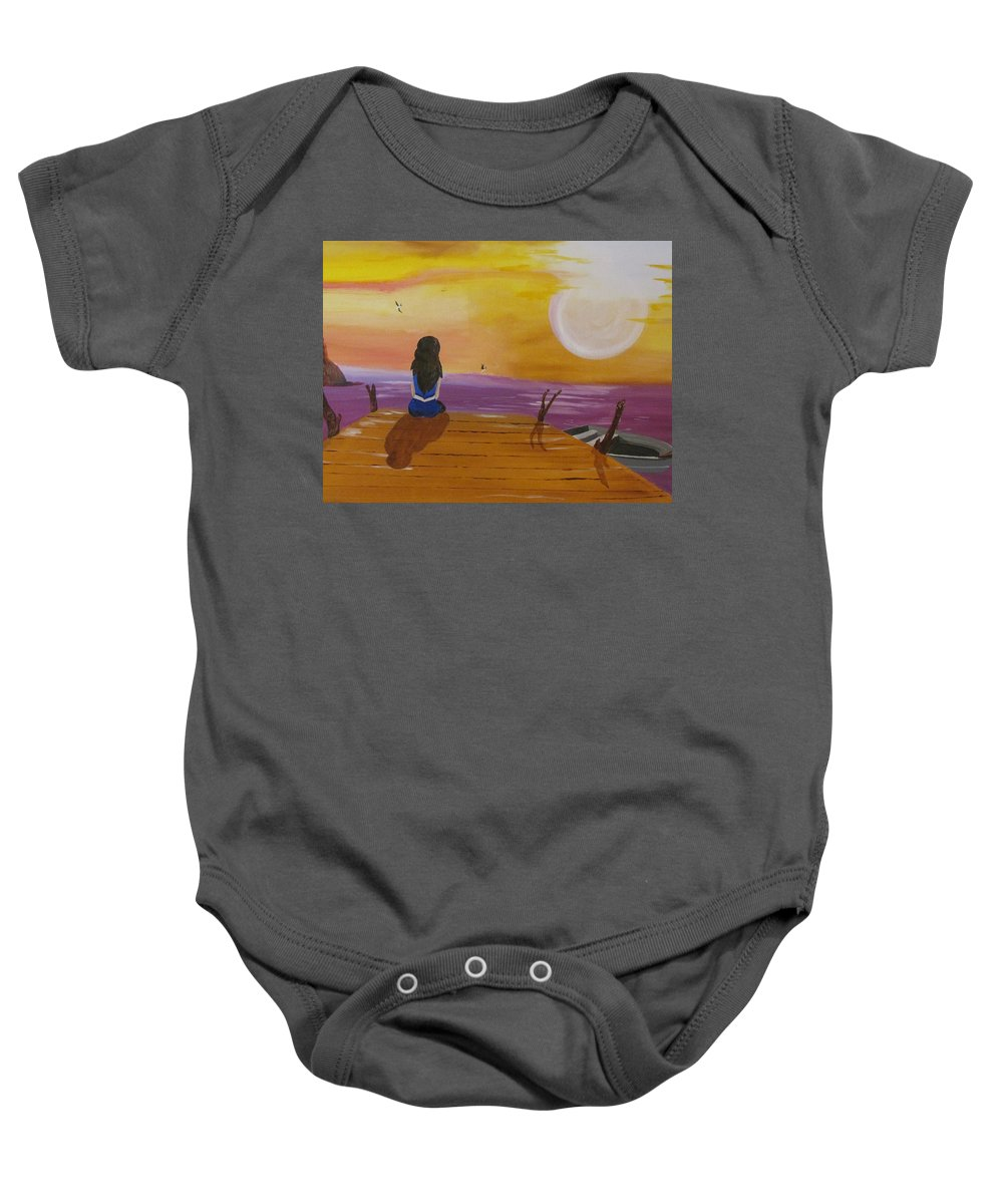 Boat Baby Onesie featuring the painting Quite Moments by Burma Brown