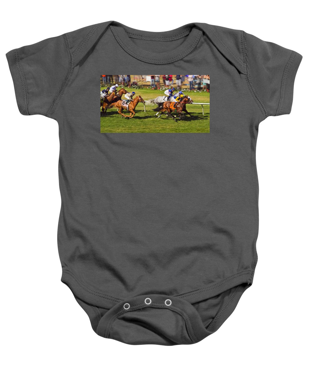 Del Mar Baby Onesie featuring the painting Race 6 - Del Mar Horse Race by Angela Stanton