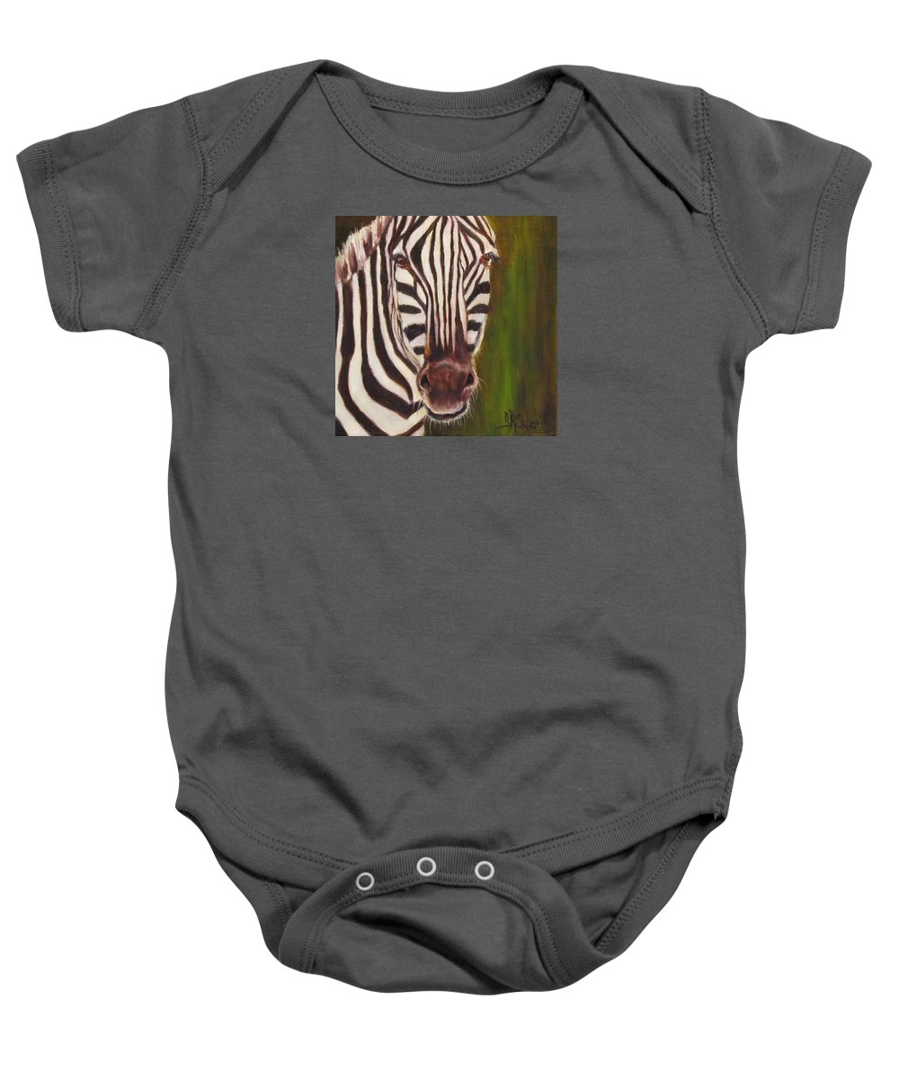 Zebra Baby Onesie featuring the painting Racer, Zebra by Sandra Reeves