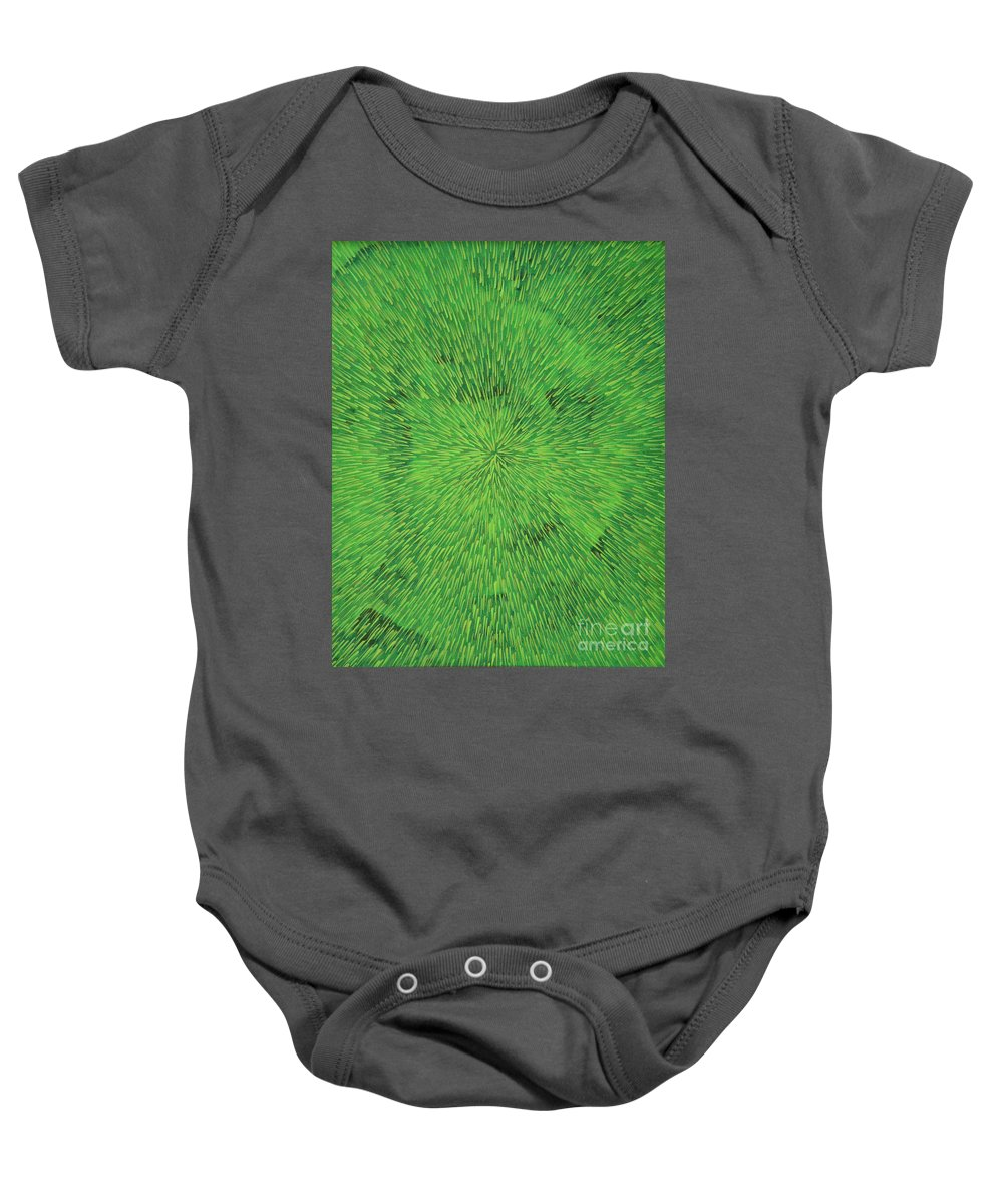 Abstract Baby Onesie featuring the painting Radiation Green by Dean Triolo