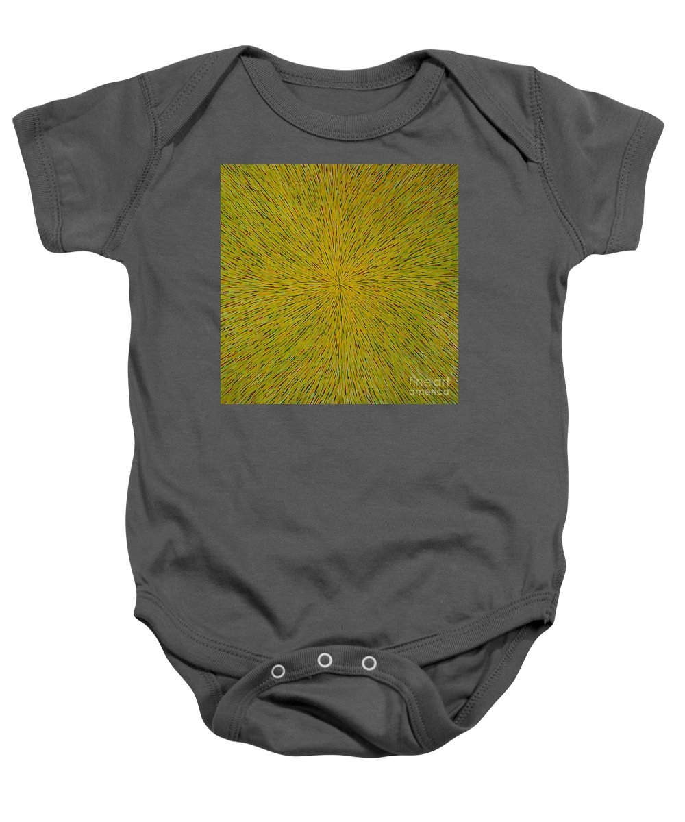 Abstract Baby Onesie featuring the painting Radiation With Yellow Green And Red by Dean Triolo