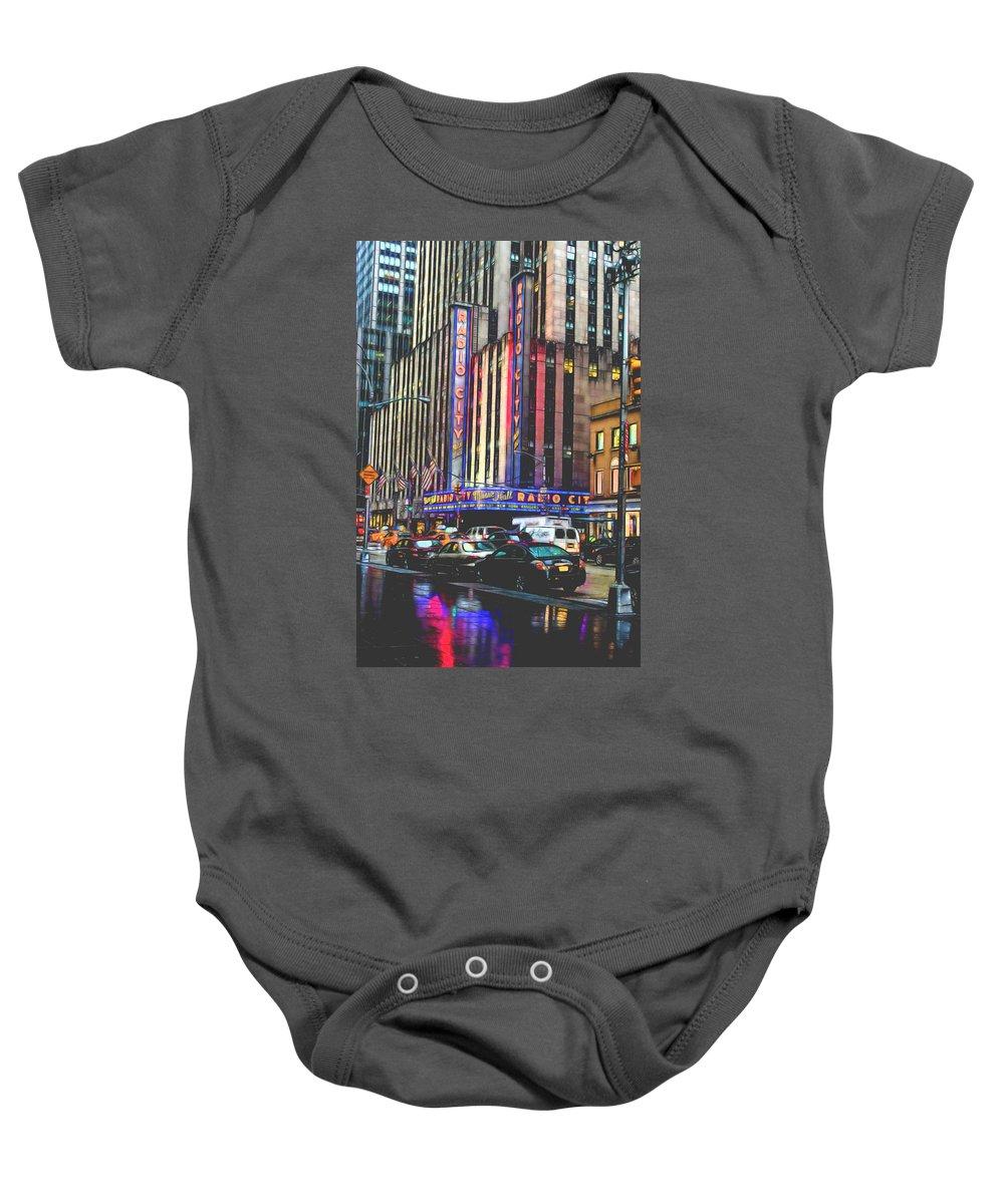New York Baby Onesie featuring the photograph Radio City Music Hall New York City- 1 by Becca Buecher