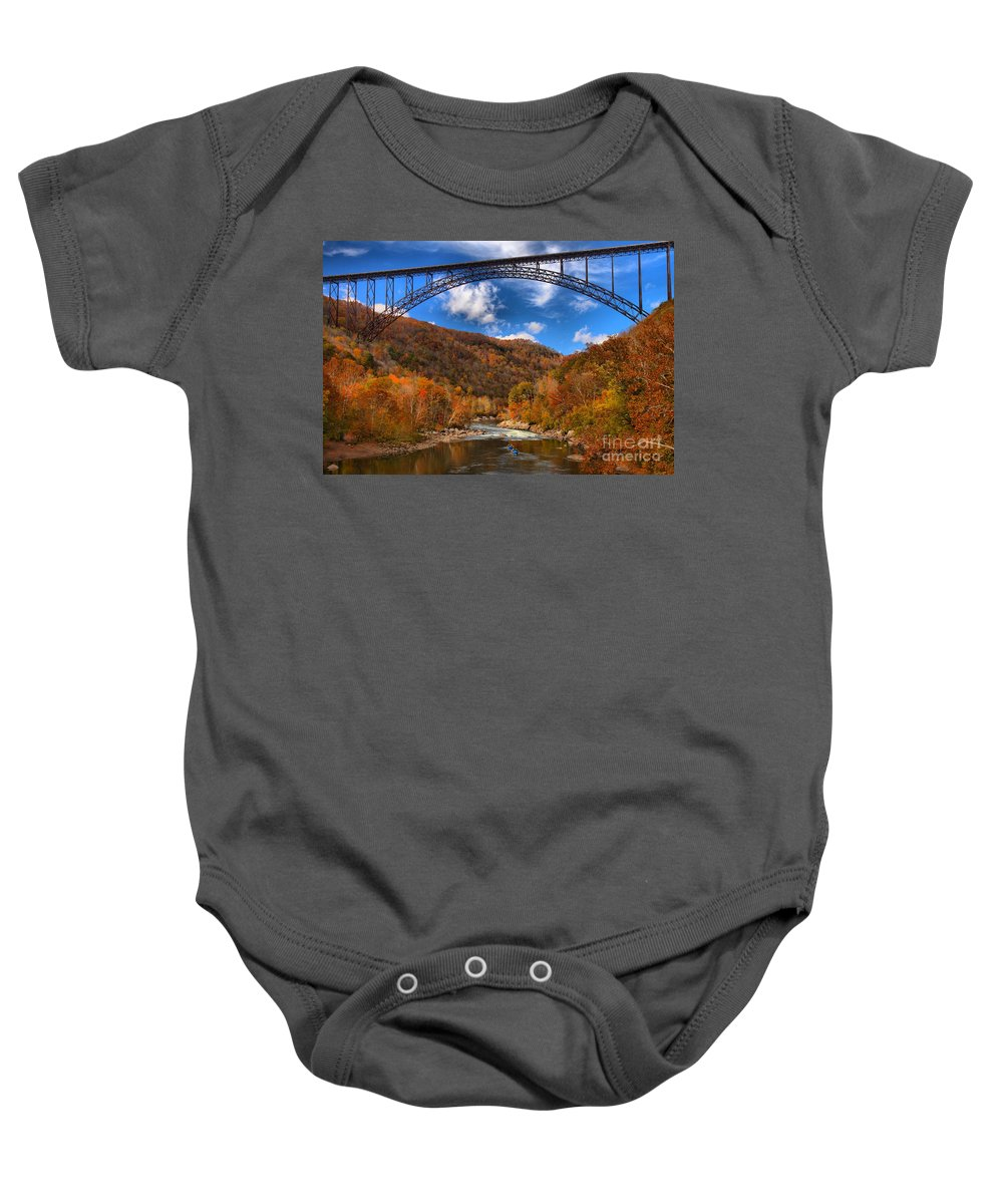 Rafting Baby Onesie featuring the photograph Rafting Down The New River Gorge by Adam Jewell