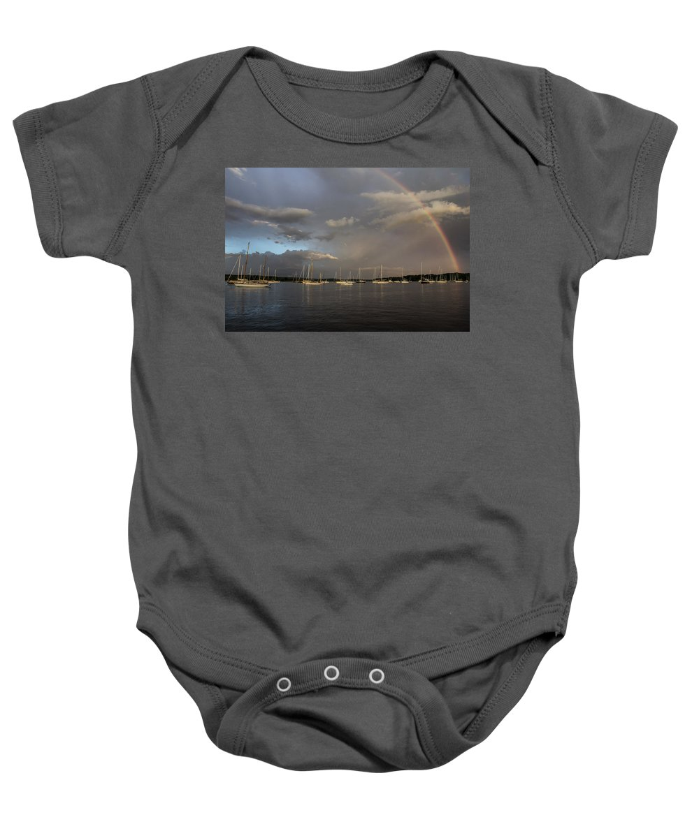 Rainbow Baby Onesie featuring the photograph Rainbow Over Essex by Jonathan Steele