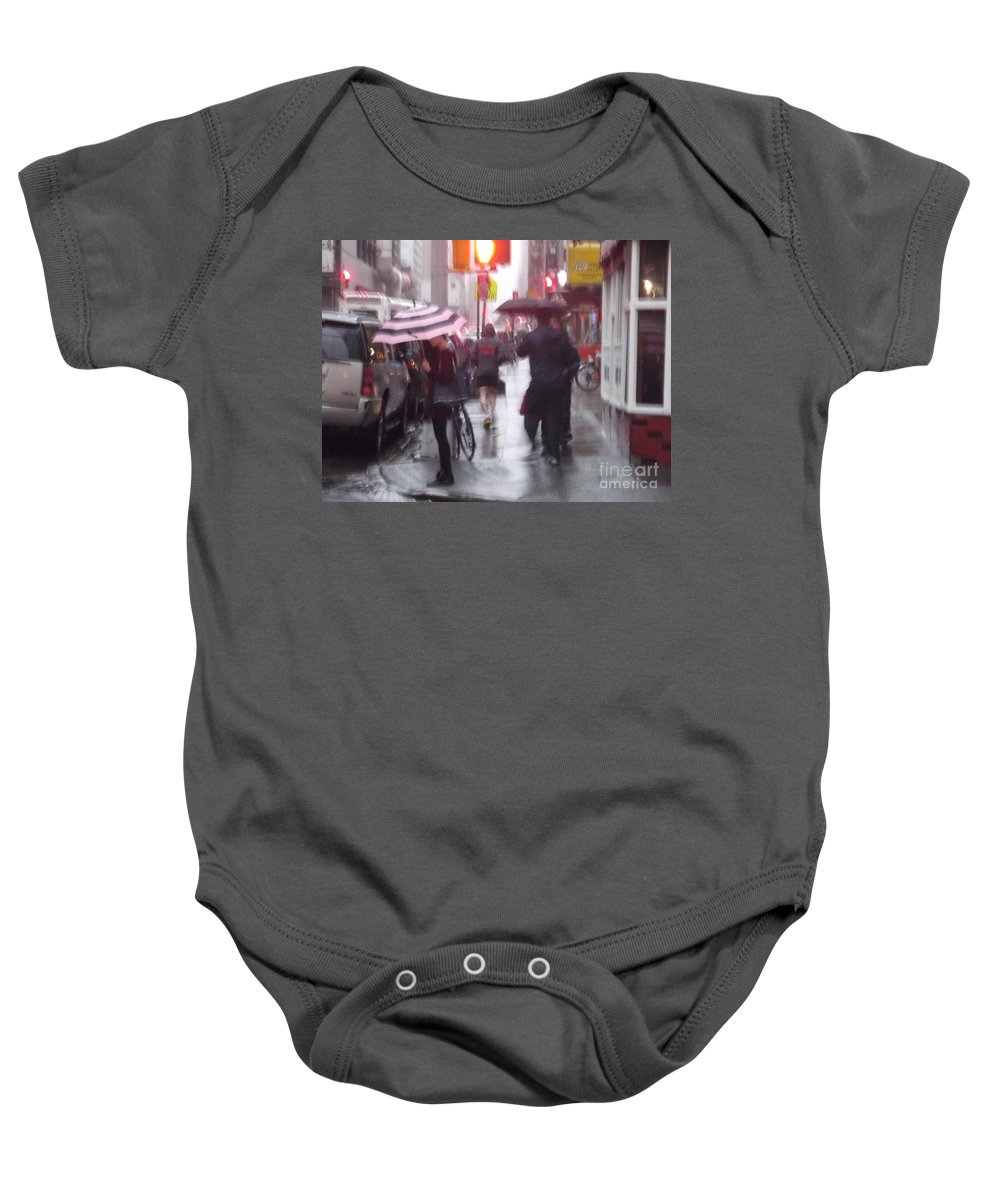 Streetscape Baby Onesie featuring the photograph Rainy Corner - New York City by Miriam Danar