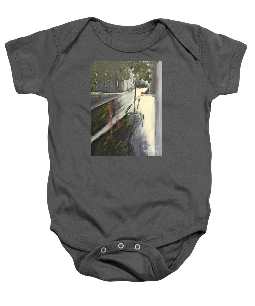 Impressionist Baby Onesie featuring the painting Rainy Street In Melbourne by Pamela Meredith