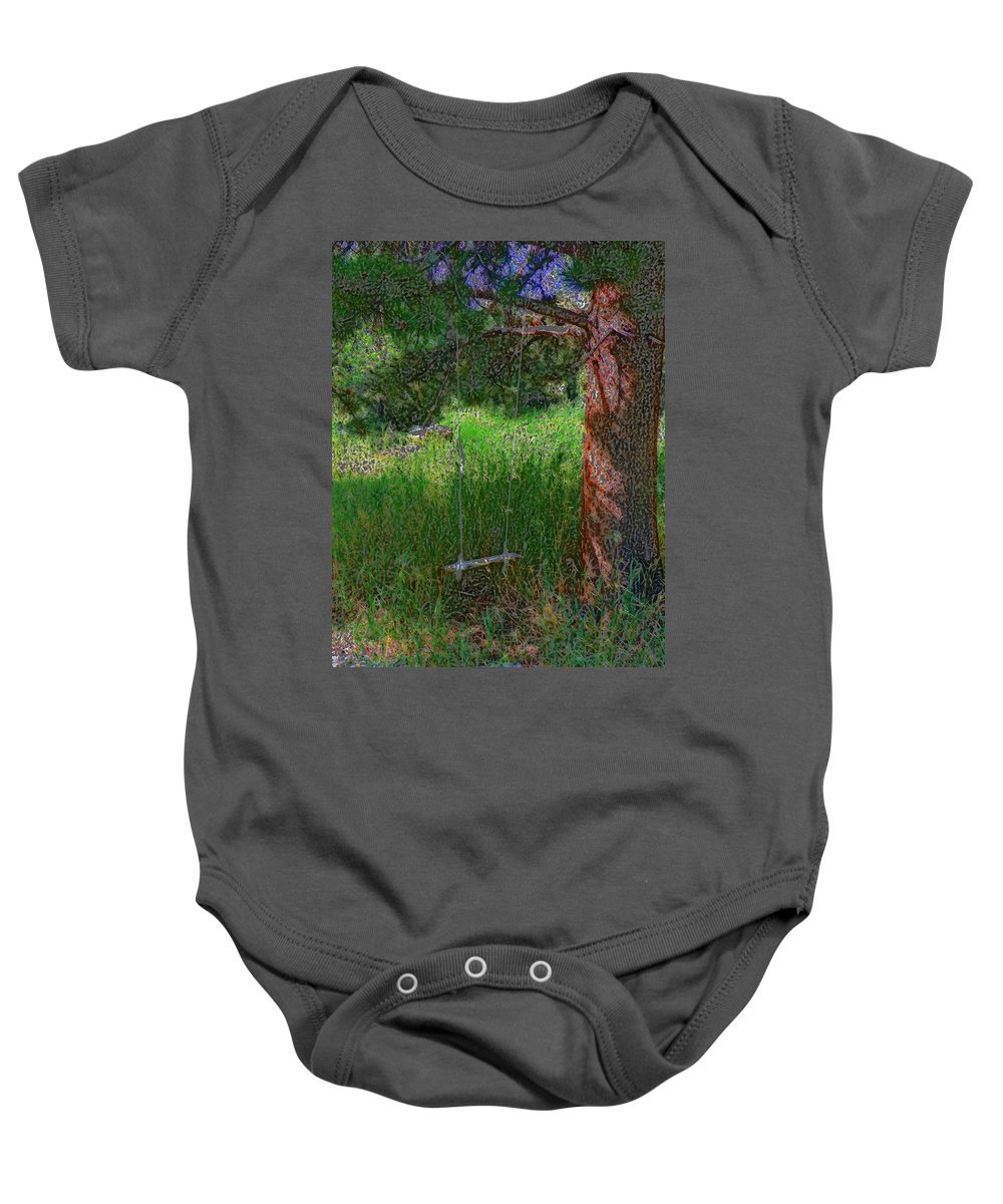 Impressionist Baby Onesie featuring the photograph Ranch Kids' Swing by Lenore Senior