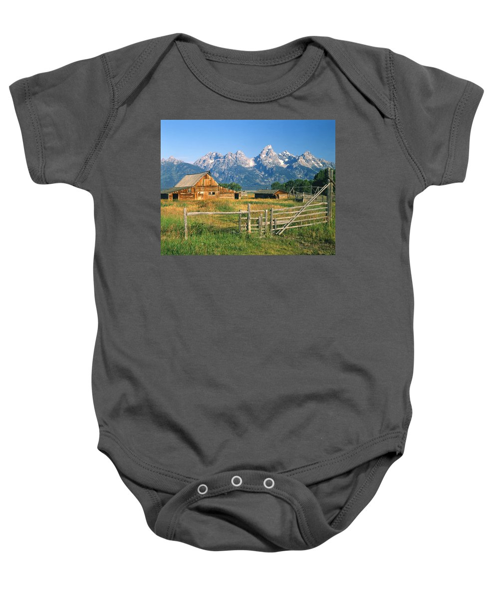 Jackson Hole Ranch Baby Onesie featuring the photograph 1m9392-ranchland And The Tetons by Ed Cooper Photography