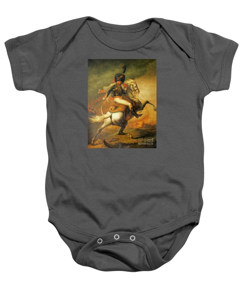 Art Baby Onesie featuring the painting Re Classic Oil Painting General On Canvas#16-2-5-08 by Hongtao   Huang