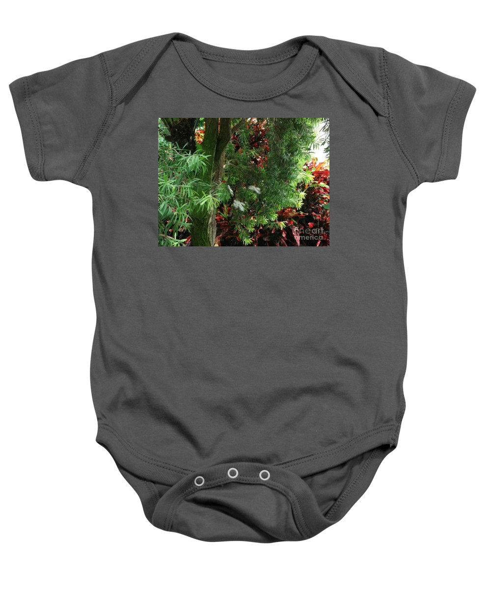 Red And Green Foliage Baby Onesie featuring the photograph Red And Green Foliage by Luther Fine Art