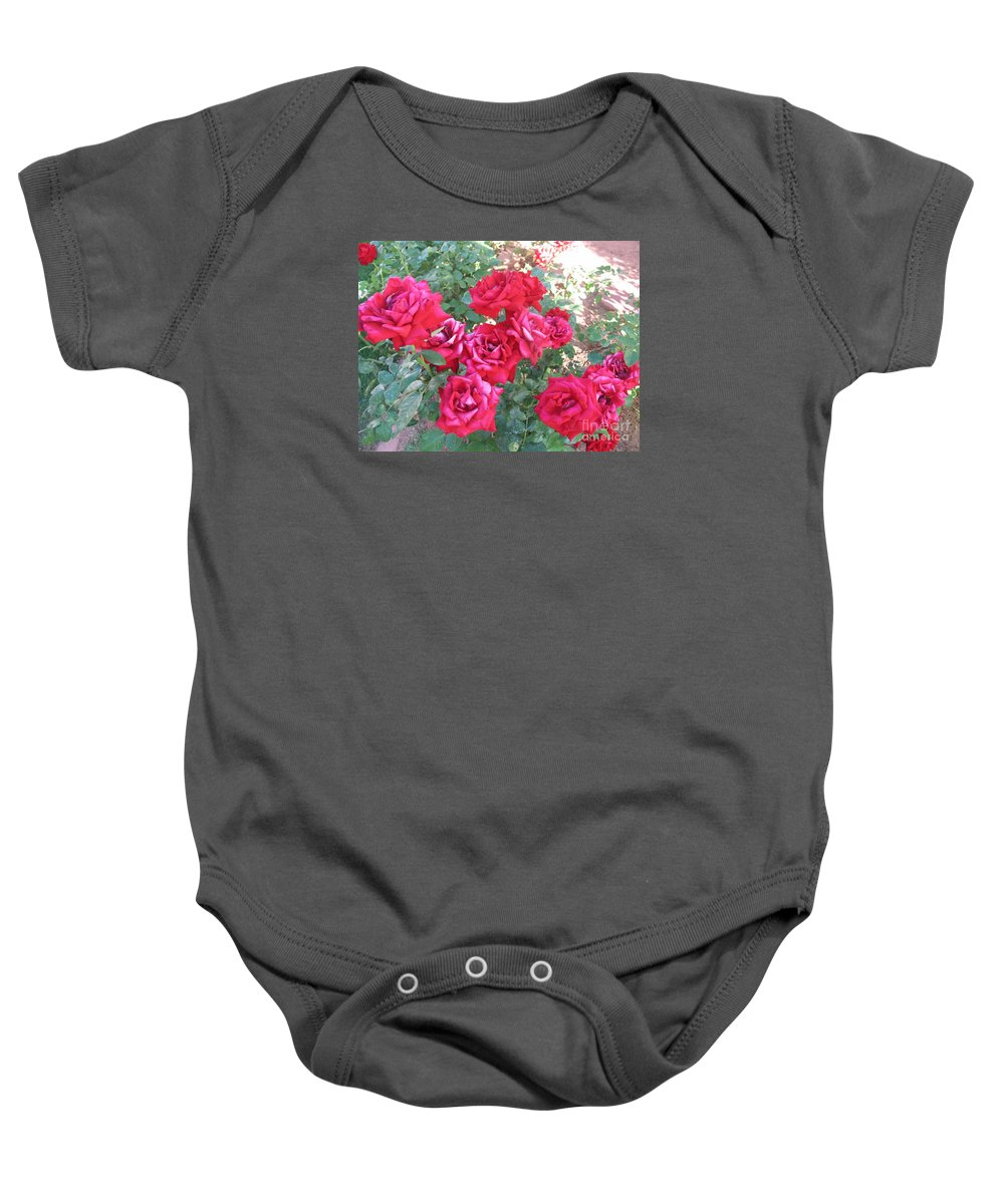 Reds Baby Onesie featuring the photograph Red And Pink Roses by Chrisann Ellis