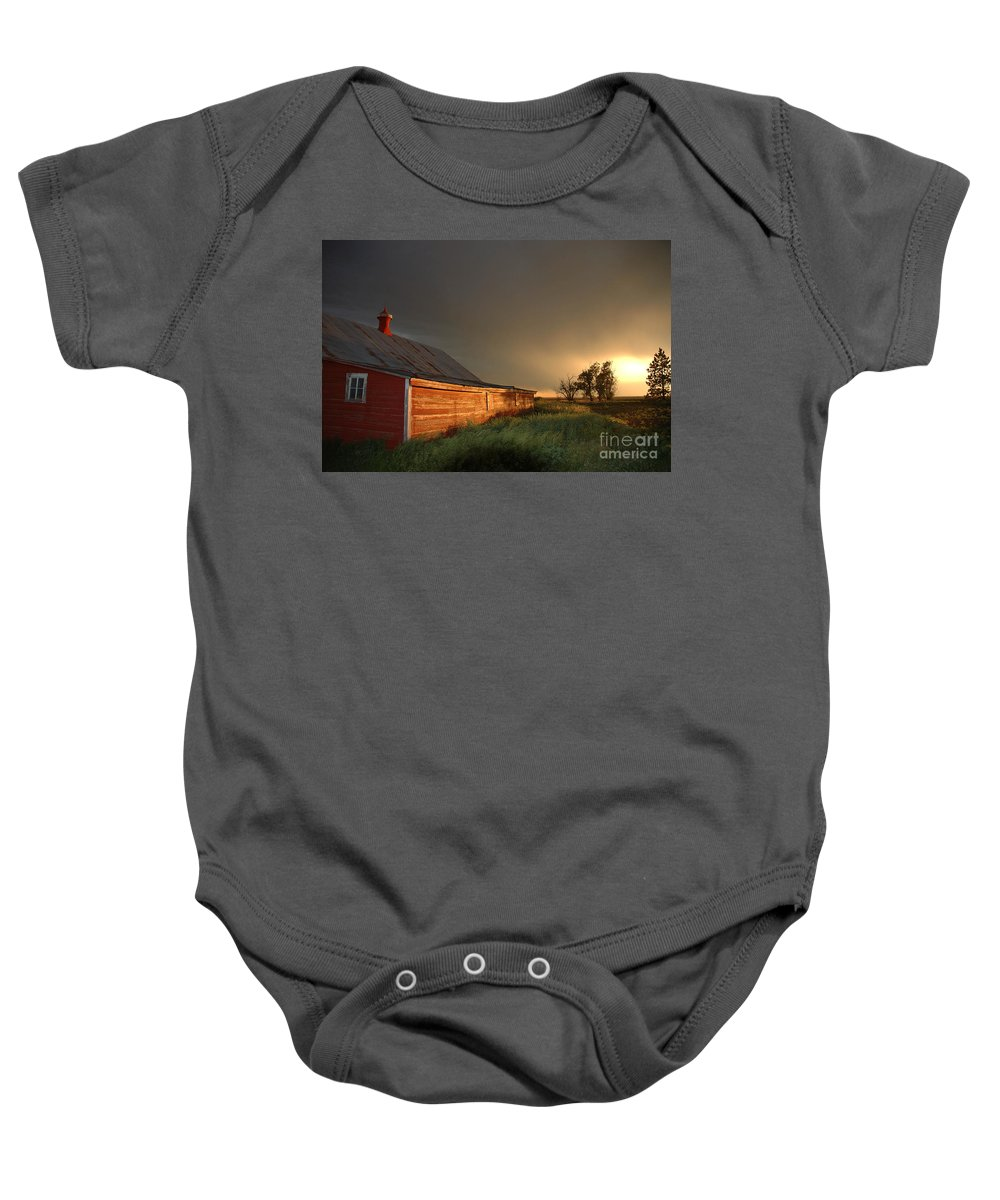Barn Baby Onesie featuring the photograph Red Barn At Sundown by Jerry McElroy