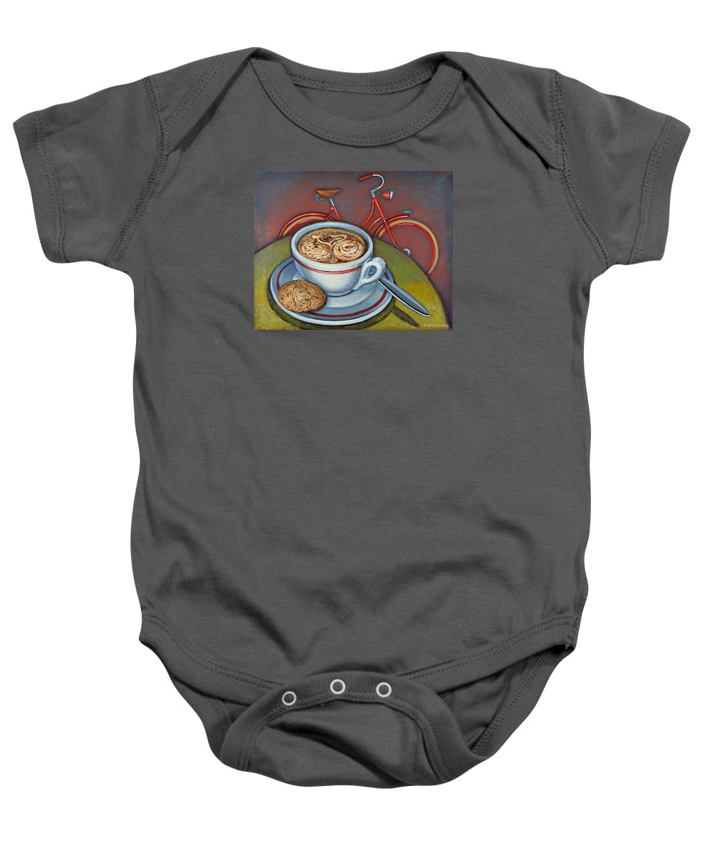 Coffee Baby Onesie featuring the painting Red Dutch Bicycle With Cappuccino And Amaretti by Mark Jones
