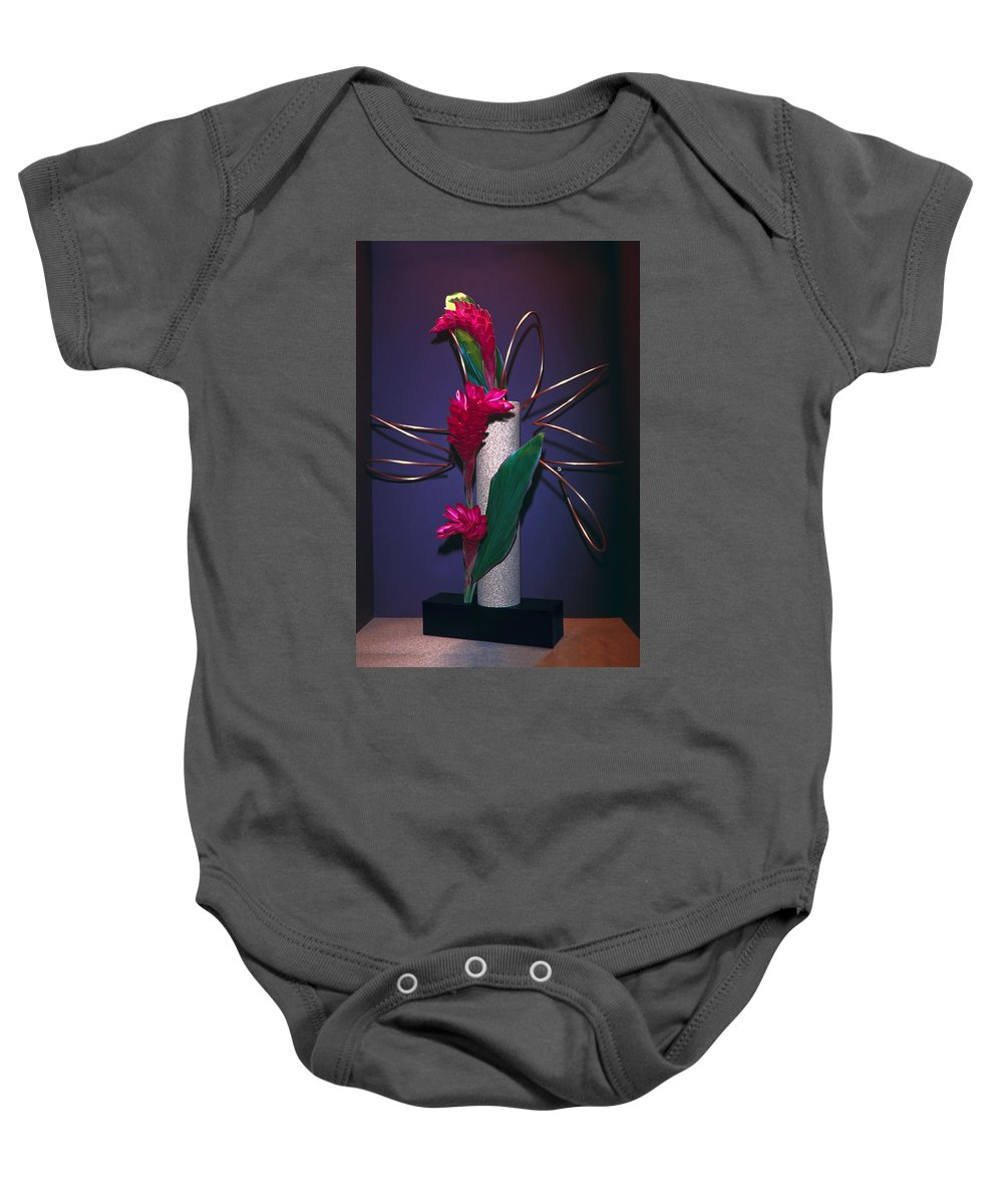 Red Ginger Floral Arrangement Baby Onesie featuring the photograph Red Ginger by Sally Weigand