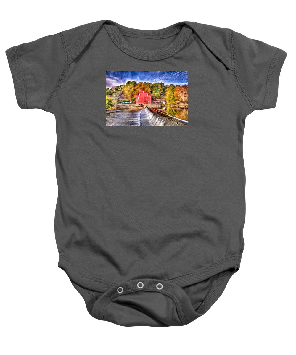 Recent Baby Onesie featuring the painting Red Mill Painted by Geraldine Scull