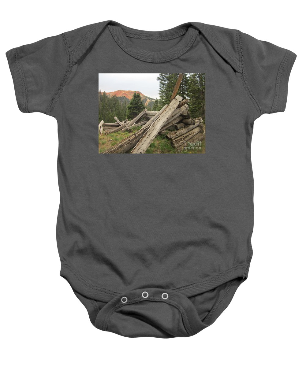 Red Mountains Baby Onesie featuring the photograph Red Mountain Ruins by Tonya Hance