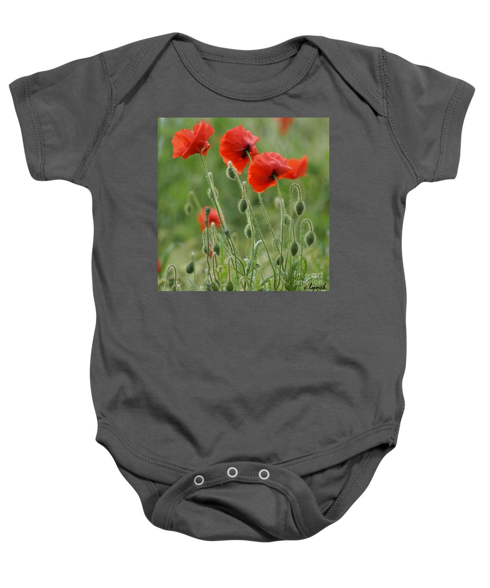Poppies Baby Onesie featuring the photograph Red Red Poppies 2 by Carol Lynch