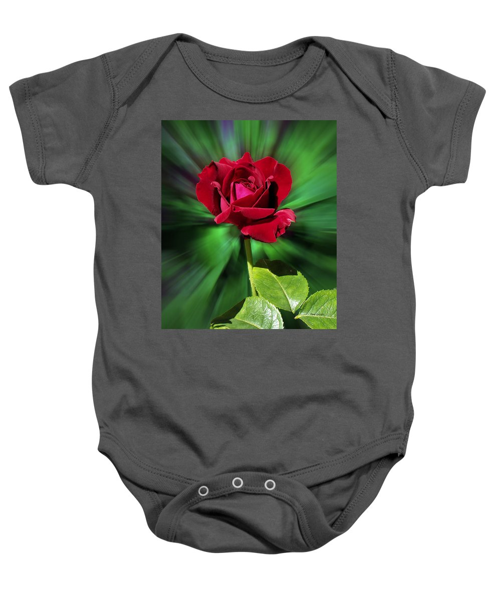 Red Rose Baby Onesie featuring the photograph Red Rose Green Background by Thomas Woolworth
