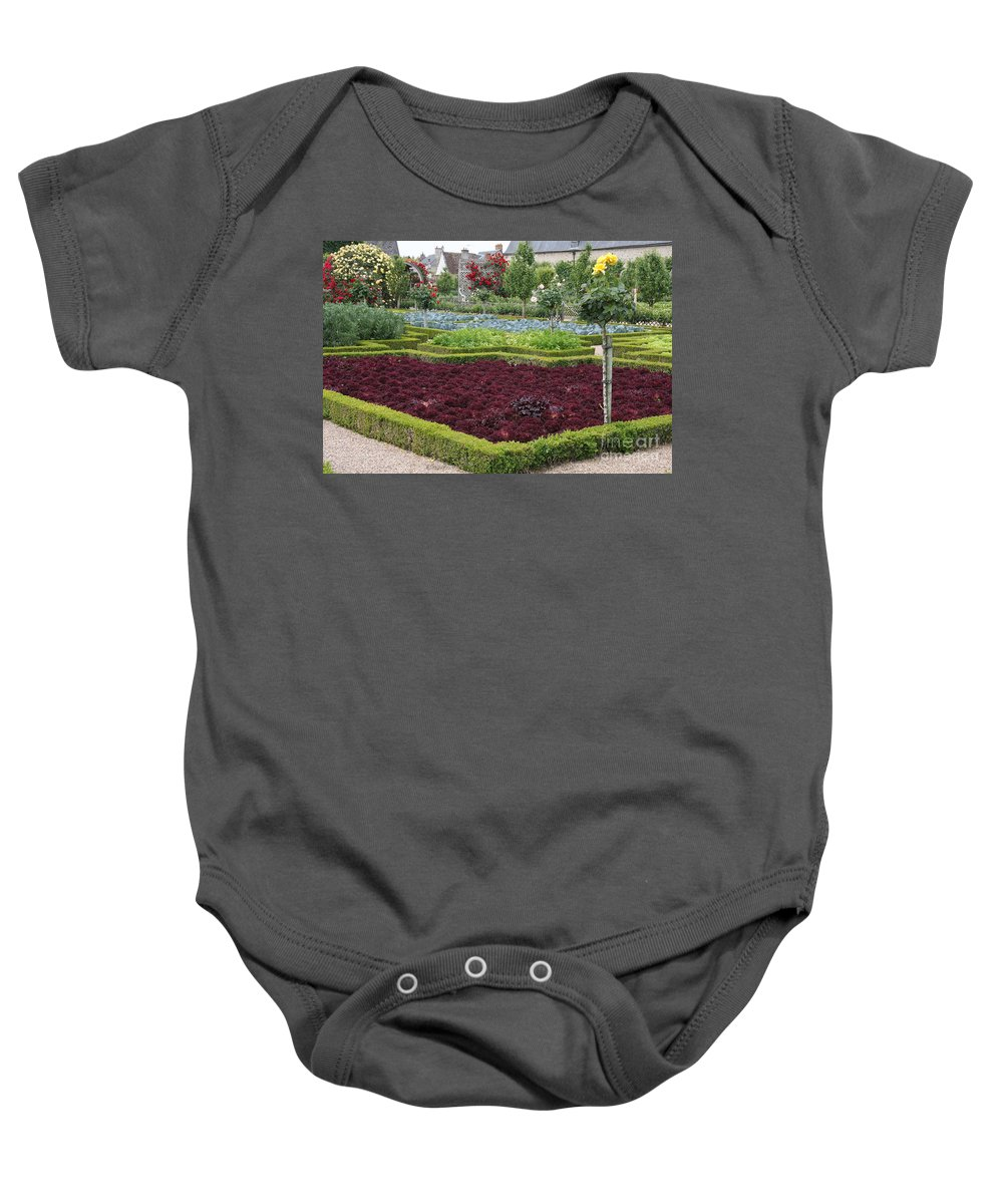 Salad Baby Onesie featuring the photograph Red Salad And Roses - Chateau Villandry Garden by Christiane Schulze Art And Photography