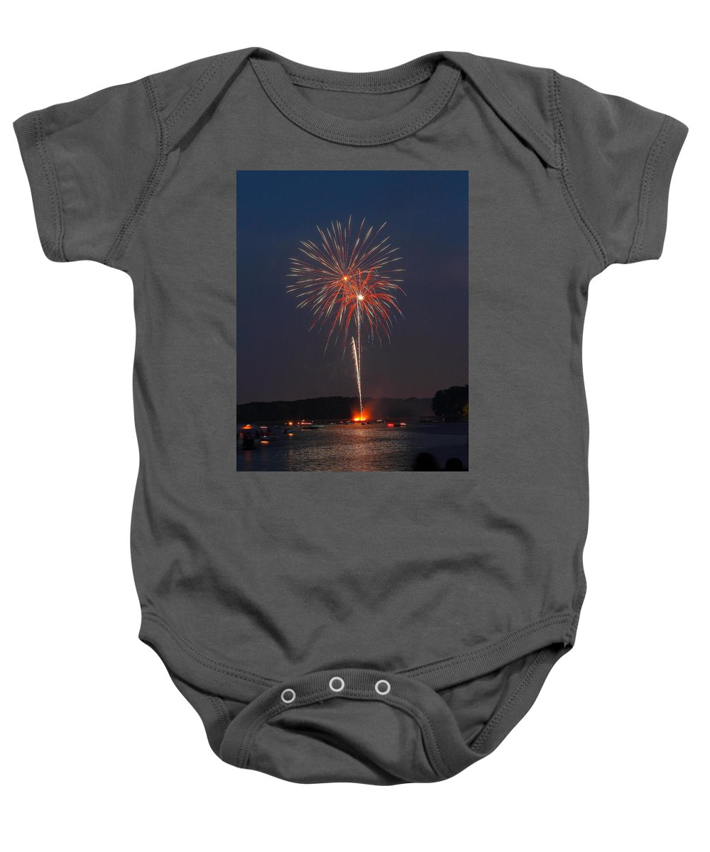 Fireworks Baby Onesie featuring the photograph Red White And Blue by Ken Kobe