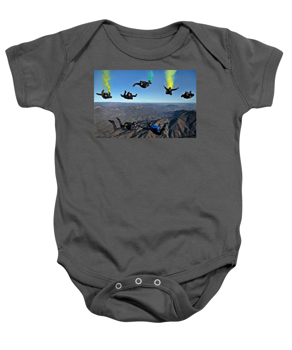 U.s. Navy Baby Onesie featuring the photograph Reenlistment In The Clouds by Mountain Dreams
