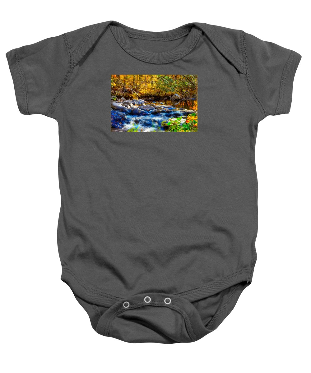 Autumn Reflection Baby Onesie featuring the photograph Reflection Of Autumns Natural Beauty by Peggy Franz