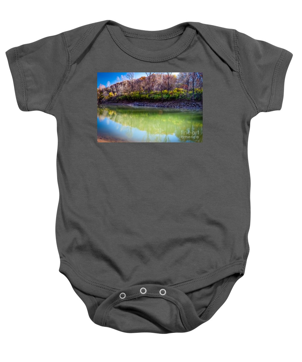 Reflections Of Autumn Baby Onesie featuring the photograph Reflection Of Beauty by Peggy Franz