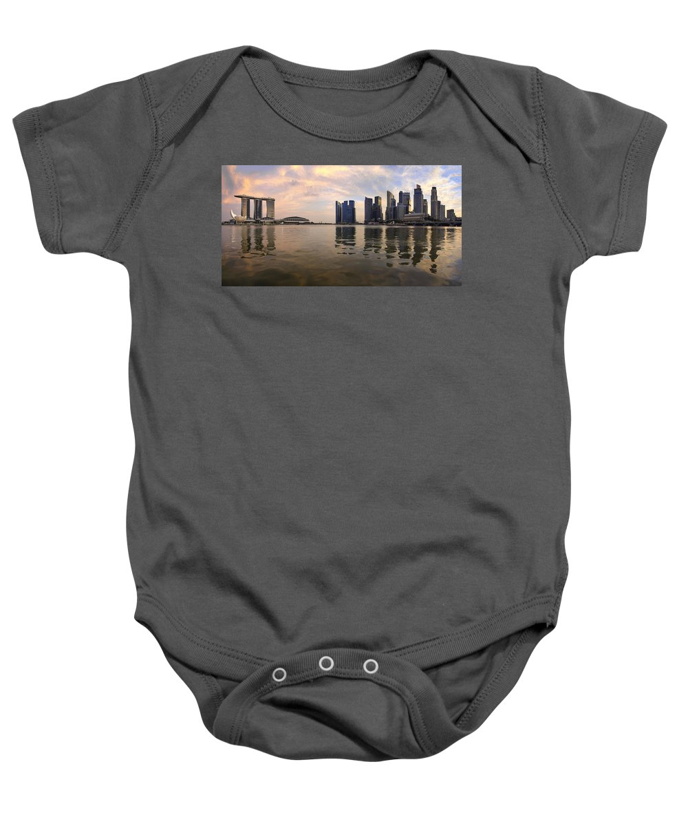 Singapore Baby Onesie featuring the photograph Reflection Of Singapore Skyline Panorama by Jit Lim