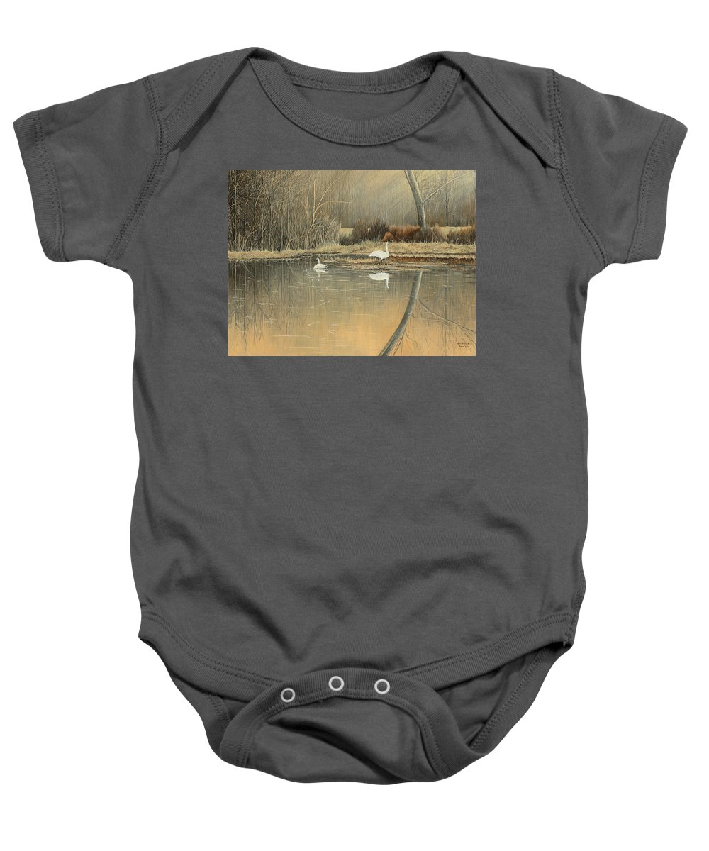 Trumpeter Swans In Boxley Baby Onesie featuring the painting Reflections by Mary Ann King