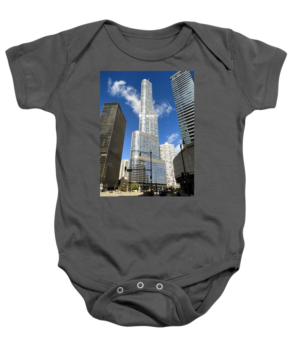 Chicago Baby Onesie featuring the photograph Reflections Of Chicago by Mountain Dreams