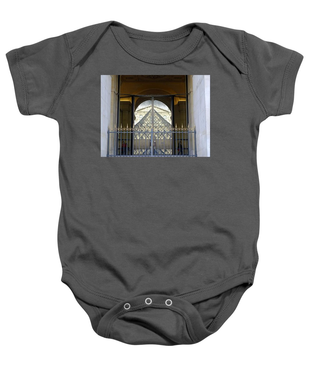 Paris Baby Onesie featuring the photograph Reflections Of The Musee Du Louvre In Paris France by Richard Rosenshein